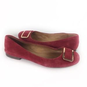 COACH | flats red suede gold buckle 7